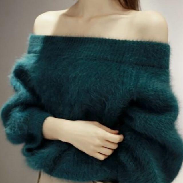韓版一字領毛茸茸套頭毛衣
