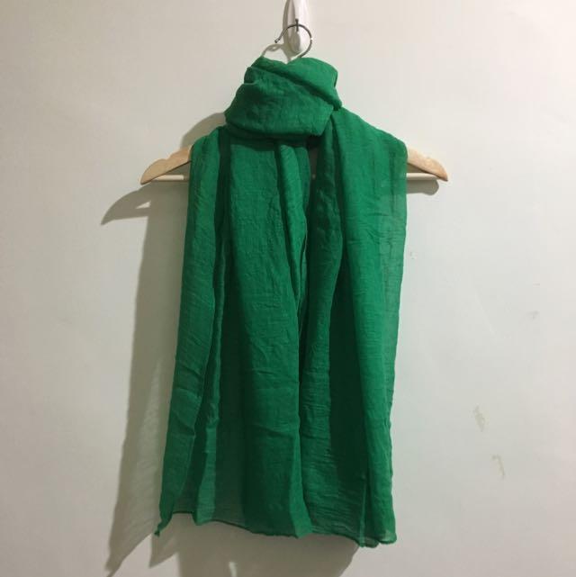 ❗免費。草綠色棉麻圍巾