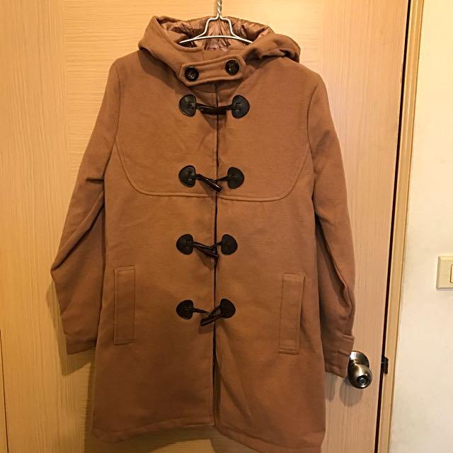 全新日本駝色牛角釦大衣