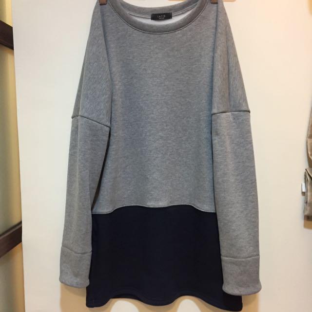 韓國購入。內刷毛舒適拼接撞色洋裝