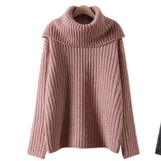 【正韓】米粉紅復古翻領粗針織毛衣