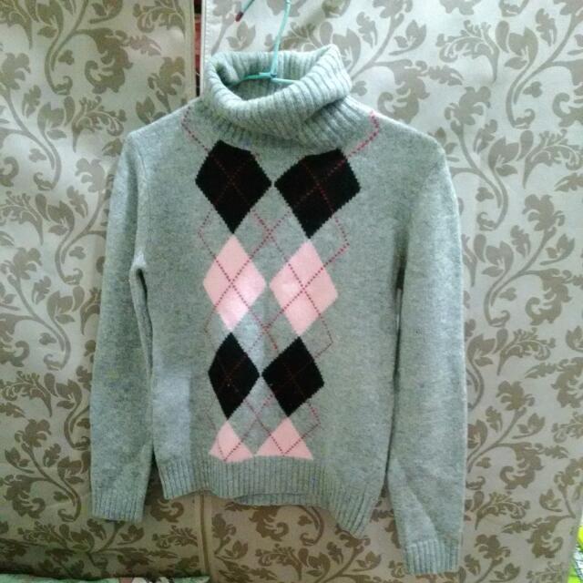 高領格紋毛衣 學院風#一百元上衣