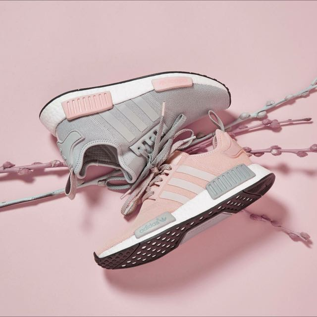 best loved 633d5 12452 adidas NMD R1 Pink Grey, Women's Fashion, Shoes on Carousell