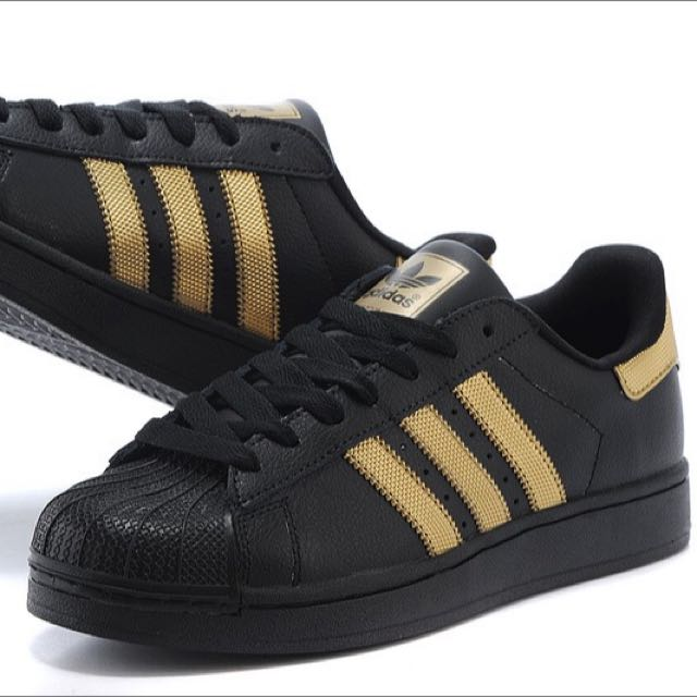 sale retailer f9d32 2c356 Adidas Superstar In Black & Gold, Women's Fashion, Shoes on ...
