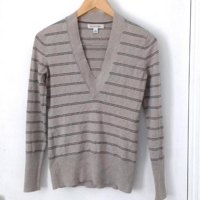 BANANA REPUBLIC V-Neck Biege Striped Pullover Size S