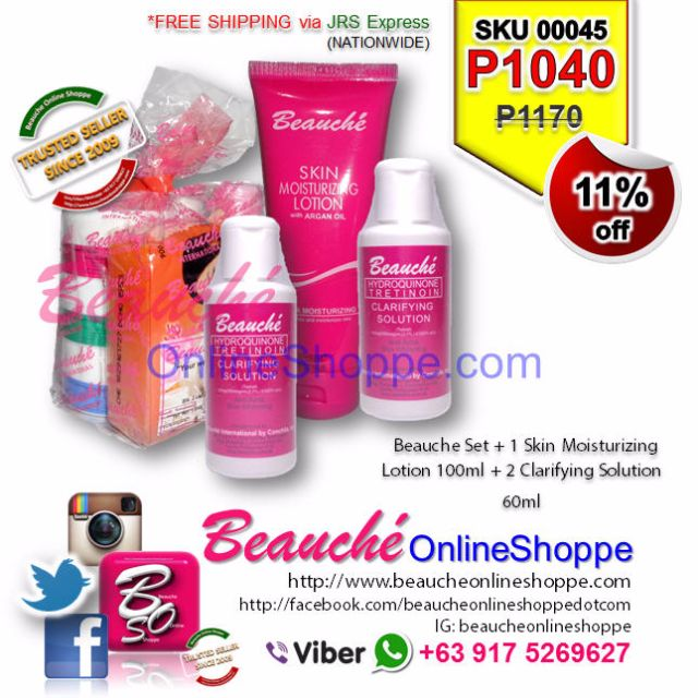 Beauche Set + 1 Skin Moisturizing Lotion 100ml + 2 Clarifying Solution 60ml (SKU 00045)
