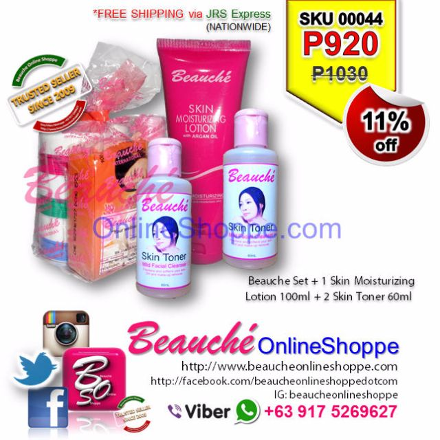 Beauche Set + 1 Skin Moisturizing Lotion 100ml + 2 Skin Toner 60ml (SKU 00044)