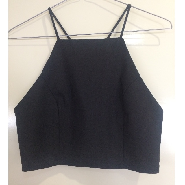 black high neck cropped top
