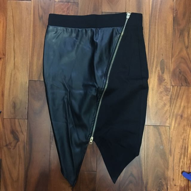 Black Leather Origami  Skirt