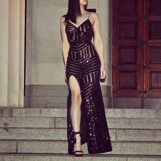 Black Mesh Sparkly Dress