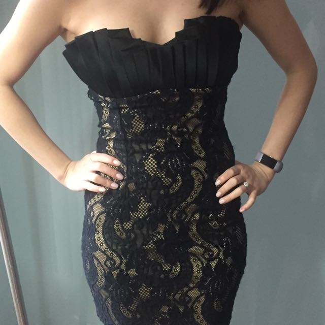 Black Strapless Lace Dress XS