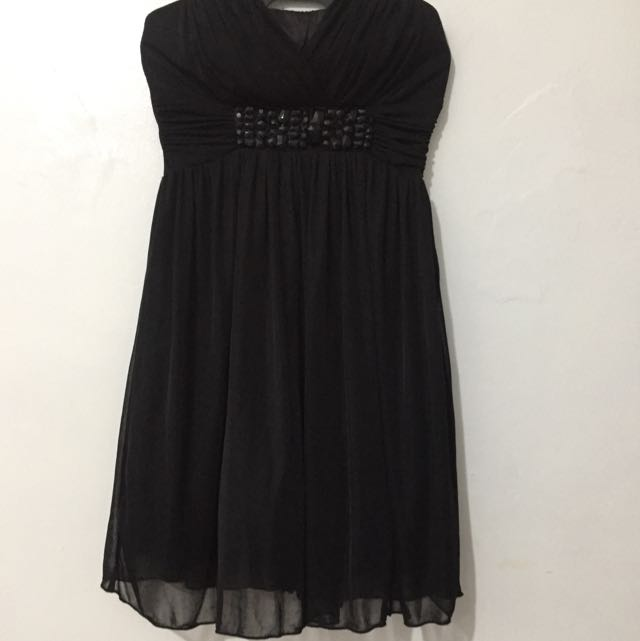 Black Tube Chiffon Cocktail Dress - M