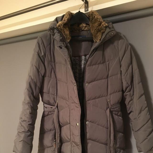 Cole Haan Women's Grey Fur Collar Zip Up Quilted Down Coat