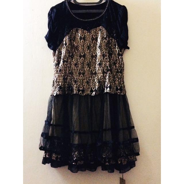Dress/Gaun Brokat Hitam