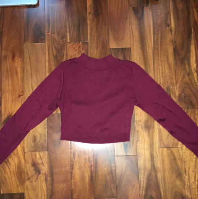 F21 Burgundy Cropped Sweater: Mock Turtleneck