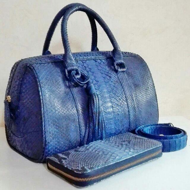 Genuine Python Leather Bag And Wallet In Matte Finish