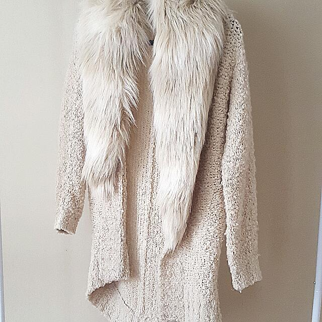 GUESS Faux Fur Cocoon Cardigan - XS