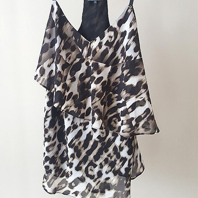 GUESS Leopard Print Flowy Layered Top - XS