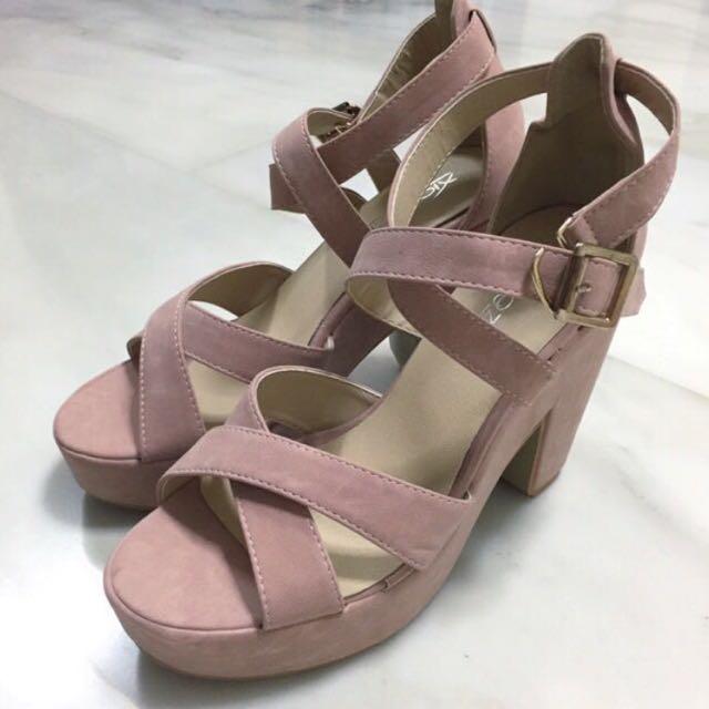 d59369261ab (INSTOCK 37-39) Aurelia Pastel Dusty Pink Platform Heels / Sandals / Shoes  / Peeptoe