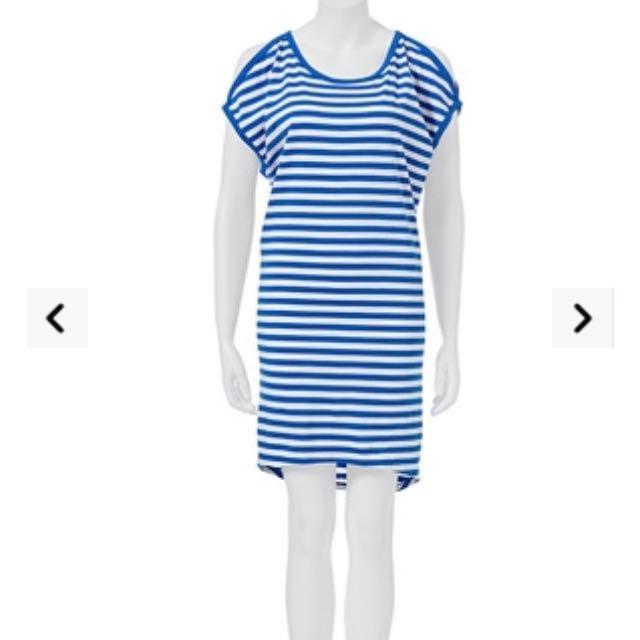 Luca & Marc Stripe Cold Shoulder Dress