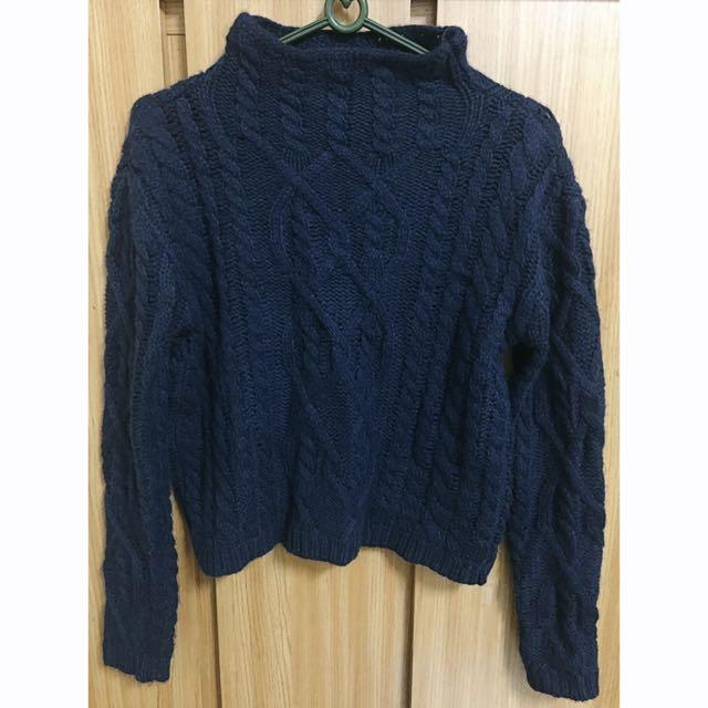 Lulus 微高領深藍針織毛衣