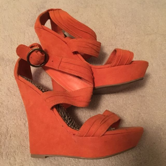 Orange Wedge Heels Sz 7