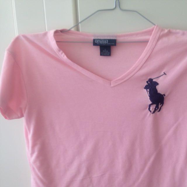 Polo Ralph Lauren Pink V Neck T Shirt