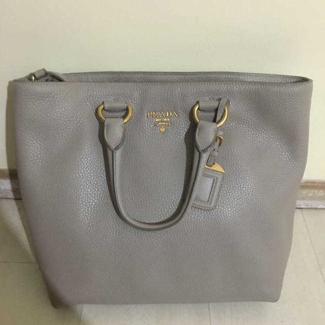 0e9efbf19df9 PRADA VITELLO DAINO Leather Shopping Tote Bag BN2865 LARGE