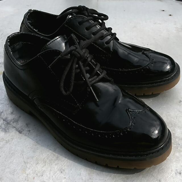 Pull and Bear ORI - Black Leather Oxford - mulus terawat