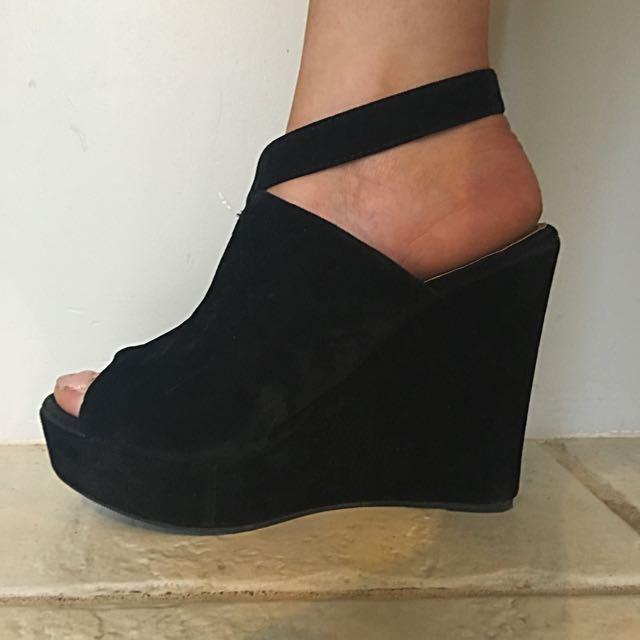 Rubi Shoes Black Wedges