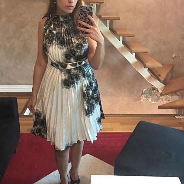 Satin Peacock Tie Dress