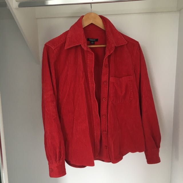 Soft red corduroy button up!!