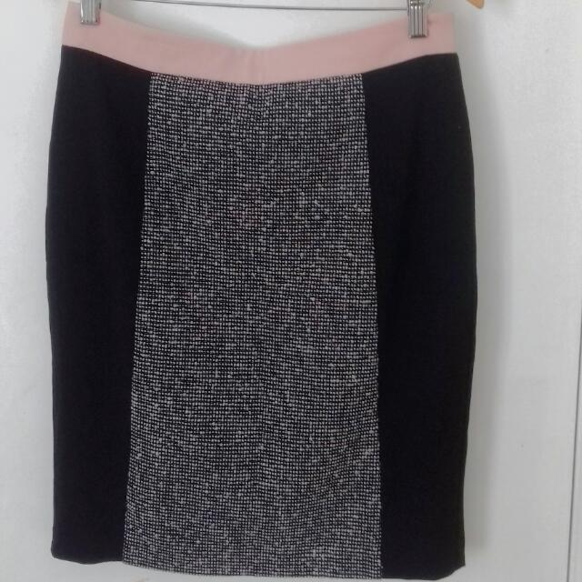 Tweed Front Panel Black Pencil Skirt Size 10