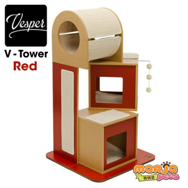 Vesper Cat Furniture V Tower Red Pet Supplies Pet Accessories On