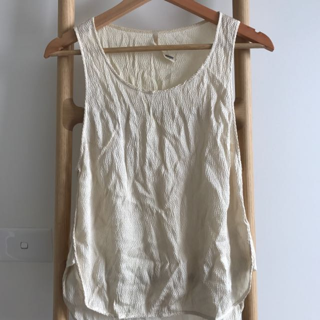 Willow White Sleeveless Silk Top, Sz10