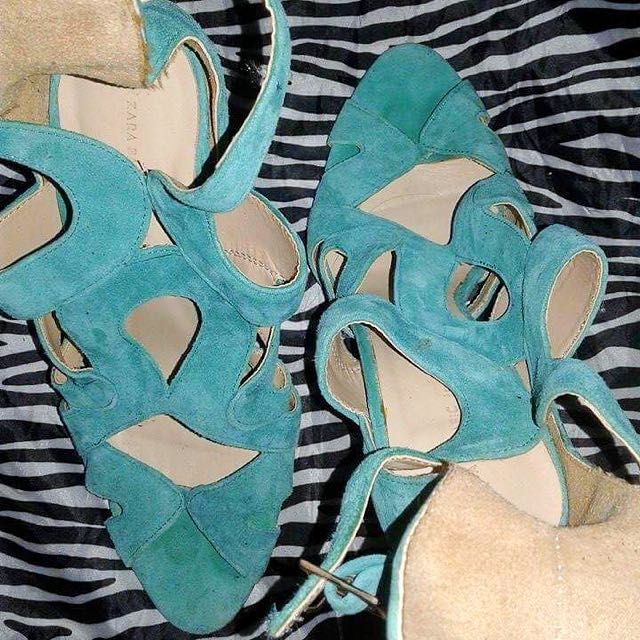 Zara Stilletos in Suede Teal Color