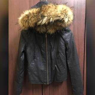 短版 皮衣外套(毛可拆)