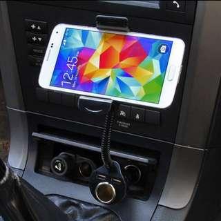 Universal 360 Rotate Car Cigarette Lighter Dual USB Port + Mount Holder