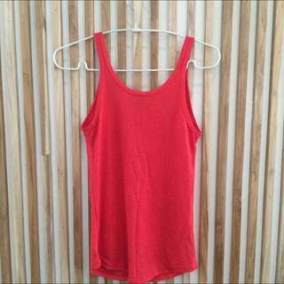 Topshop Red Basic Top