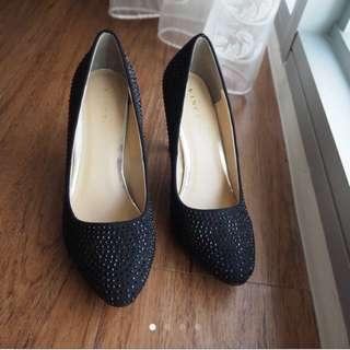 Brand New Vincci Black Suede Embellished Heels