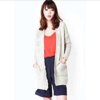 BN AFA KEPT TOASTED KNITTED CARDIGAN IN GREY