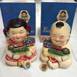 Original Vintage 60's Cultural Revolution Era Boy Girl Handcrafted Clay Coin Banks Figurines Mint In Box Kitsch Oriental Tattoo Parlor Decor