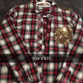 Sequin Plaid Shirt