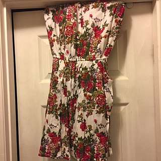 Floral Strapless Mini Dress With Pockets!