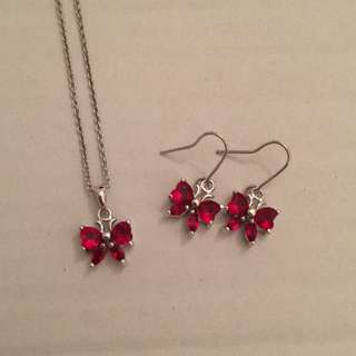 Red Butterfly Necklace & Earring Set