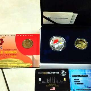 Commemorative Issue with case and Certificate. Silver Proof and Nordic Gold Proof Set of two and Coin Card