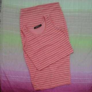 F&H Highwaist Midi Skirt And Crop Top Pomelo Stripes S-M