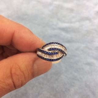 Gorgeous Blue Sapphire With White Topaz Solid 925 Sterling Silver Ring Size US7