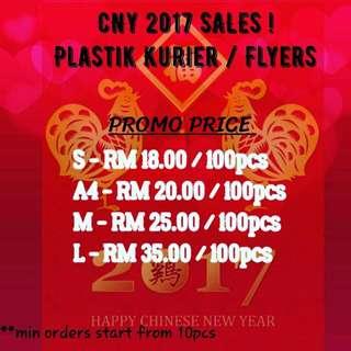 CNY Red Plastik Pos 100pcs