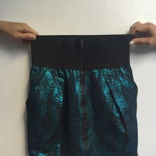 Zara High-waist Sparkly Green Skirt